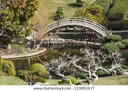 A Beautiful Japanese Garden with Bridge and Pond