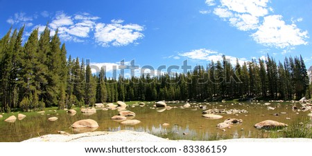 a beautiful lake or pond of fresh water in yosemite national park one fine summer day