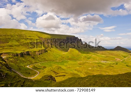 A beautiful landscape from a hill of Quiraing in isle of skye, Scotland - stock photo