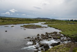 A beautiful landscape in the Thingvellir National Park in Iceland
