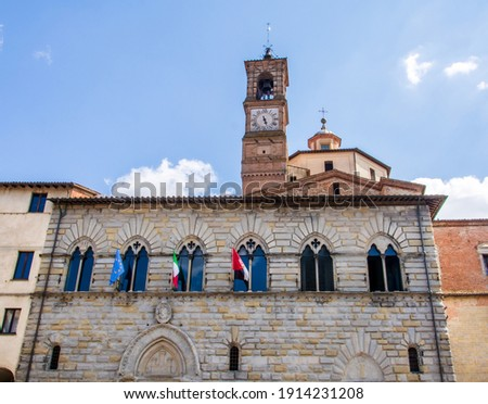 A beautiful low angle view of the Palazzo Comunale, the Town Hall of Citta di Castello, Tuscany, Italy Foto d'archivio ©