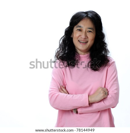 A Beautiful Mature Asian Lady Laughs Joyfully