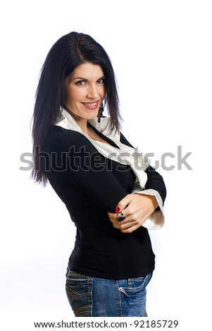 A beautiful middle aged woman with black hair.