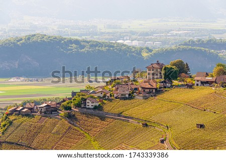 A beautiful mountainous landscape in Auliens in the Swiss Alps Stock fotó ©