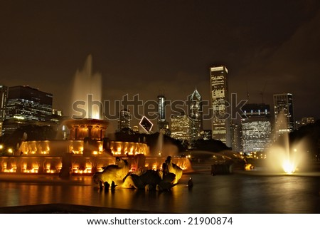A beautiful night shot of Chicago from Buckingham Fountain