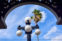 A beautiful old globe light standard and a palm tree are framed by an arabesque architectural detail in Ybor City, Tampa, Florida.