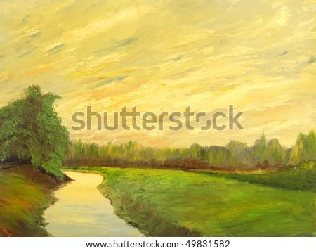A beautiful original landscape painting oil on canvas