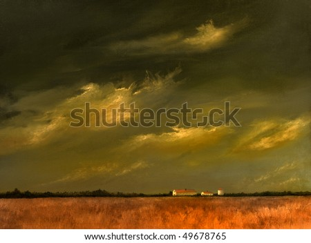 A beautiful Original landscape painting with Barn and Wheat Fields