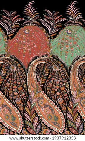 A beautiful paisley border design  in repeat with amazing colours for apparel.