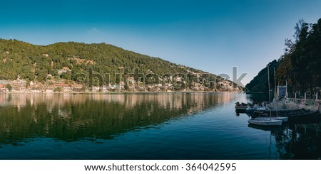 A beautiful panoramic landscape of Naini Lake in morning. Nainital, India.