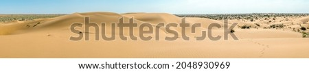 A beautiful panoramic view of the sand dunes. Endless arid desert Photo stock ©