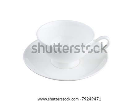 A beautiful porcelain tea or coffee cup with causer