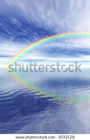 A beautiful rainbow over the open ocean