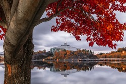 A beautiful red maple frames the shores of Ramsey Lake and Science North in Sudbury, ON.