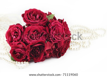 A Beautiful Red Rose Bouquet With Pearls And Lace On White ...