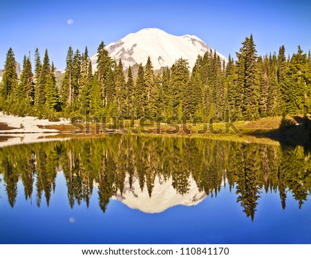 A beautiful reflection in tipsoo lake - stock photo