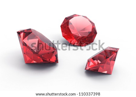 A beautiful ruby gems isolated on white background
