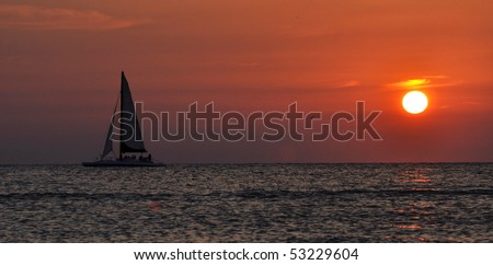 A beautiful sail at dusk. Clearwater, Tampa