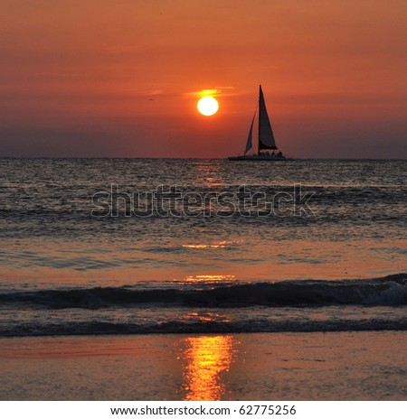 A beautiful sail at dusk. Clearwater, Tampa - stock photo