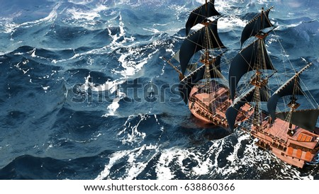 A beautiful sailboat in the open ocean #638860366