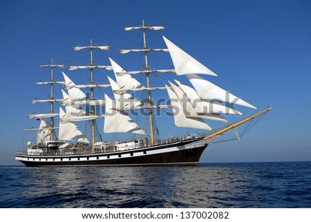 A beautiful sailing ship in the ocean