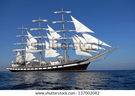 A beautiful sailing ship in the ocean