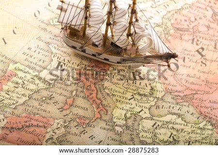 A beautiful sailing ship on an old map