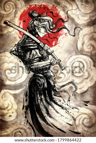 A beautiful samurai girl in Japanese armor with a katana on her shoulder, standing in profile against the background of the sun and clouds in Japanese style, her hair flying in the wind. 2D