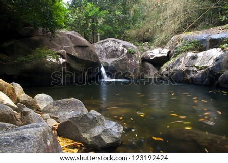 A beautiful scenery of waterfall in the Khao Chamao rain forest, Thailand