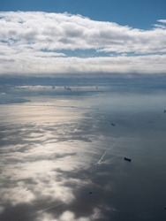 A beautiful sea view taken from high in the sky