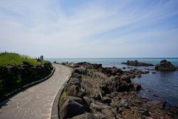 a beautiful seaside landscape with a walkway, scenery around handam walkway
