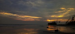 A beautiful senset in the Gangasagar seabeach