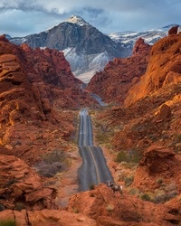 A beautiful shot of a road through the Valley of Fire State Park in Nevada