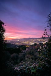 A beautiful shot of the sunset over the Cote d'Azur (French Rivera), France