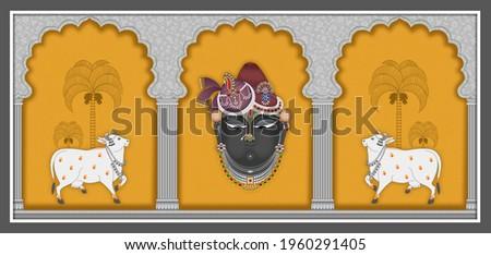 A Beautiful Shreenathji Pichwai Artwork with White Cow for Temple Room. Ethnic Wallpaper for Interior Home Decor.