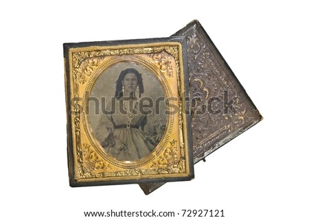 A beautiful small, antique, vintage photo of a woman in the 1800's. Tin type in leather case with gold trim and accents.