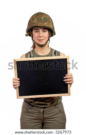 A beautiful soldier girl holding the chalkboard