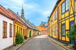 A Beautiful street in Ystad, Skåne, Sweden. August 29, 2020.