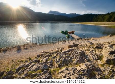 A beautiful sunrise on a mountain lake