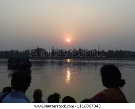 A beautiful Sunrise on the Holly Ganga river. pic is taken from running boat
