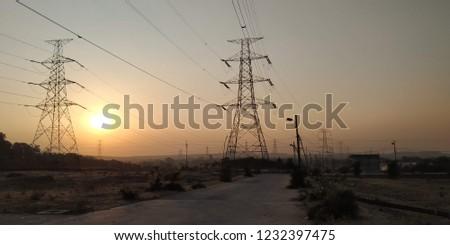 A beautiful sunset at field #1232397475