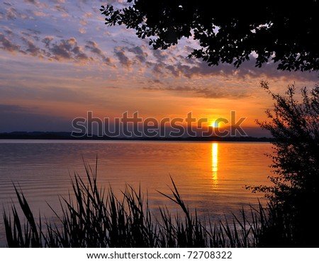 A beautiful sunset at Lake Chiem / Chiemsee, Bavaria, Germany