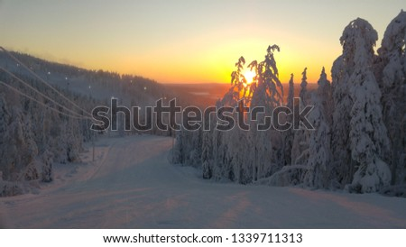 A beautiful sunset in Levi, Finland. Levi is also located in Lapland.