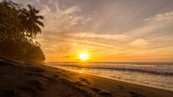 A Beautiful sunset in the Diamant beach in Martinique