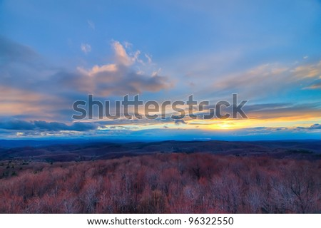 A Beautiful Sunset in Vermont During the Winter