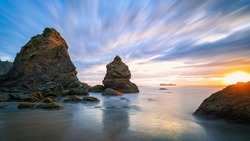A beautiful sunset over a seascape in northern California beach, USA