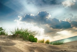 A beautiful sunset over Indiana Dunes State Park in July.