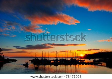 A beautiful sunset over the Lund Harbor in British Columbia, Canada.