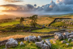 A beautiful sunset over the Yorkshire Dales National Park at the Winskill Stones near Settle