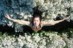 A beautiful Thai girl is in a white cutter garden in Chiang Mai, Thailand.  rest in the flower field, like a dream
